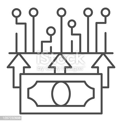 istock Electronic money thin line icon, Currency concept, Mobile payment sign on white background, Digital money dollar icon in outline style for mobile concept and web design. Vector graphics. 1257232656