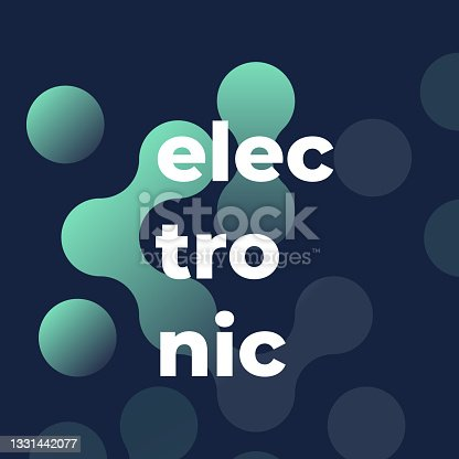istock Electronic music. Abstract geometrical poster. Square format. Vector illustration, flat design 1331442077