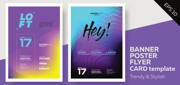 electronic music covers for summer fest or club party flyer. - poster stock illustrations