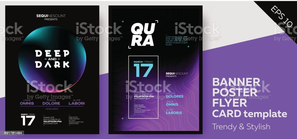 Electronic Music Covers for Summer Fest or Club Party Flyer. royalty-free electronic music covers for summer fest or club party flyer stock illustration - download image now