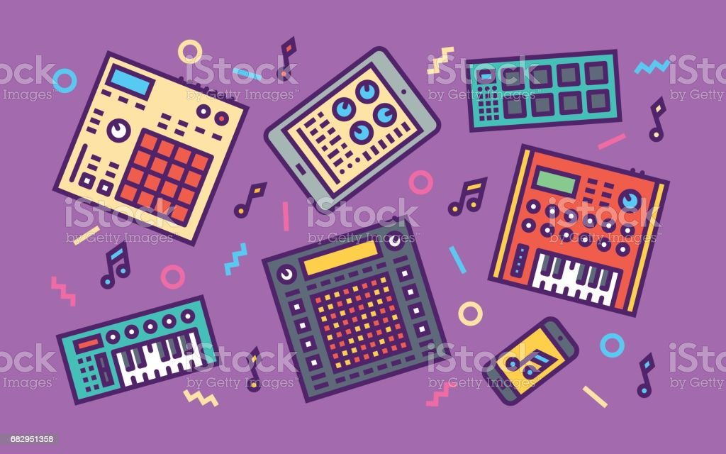 Electronic Music Creation Devices Concept Line Art Bright Colors Illustration. Contemporary Trendy Vector Icons. vector art illustration