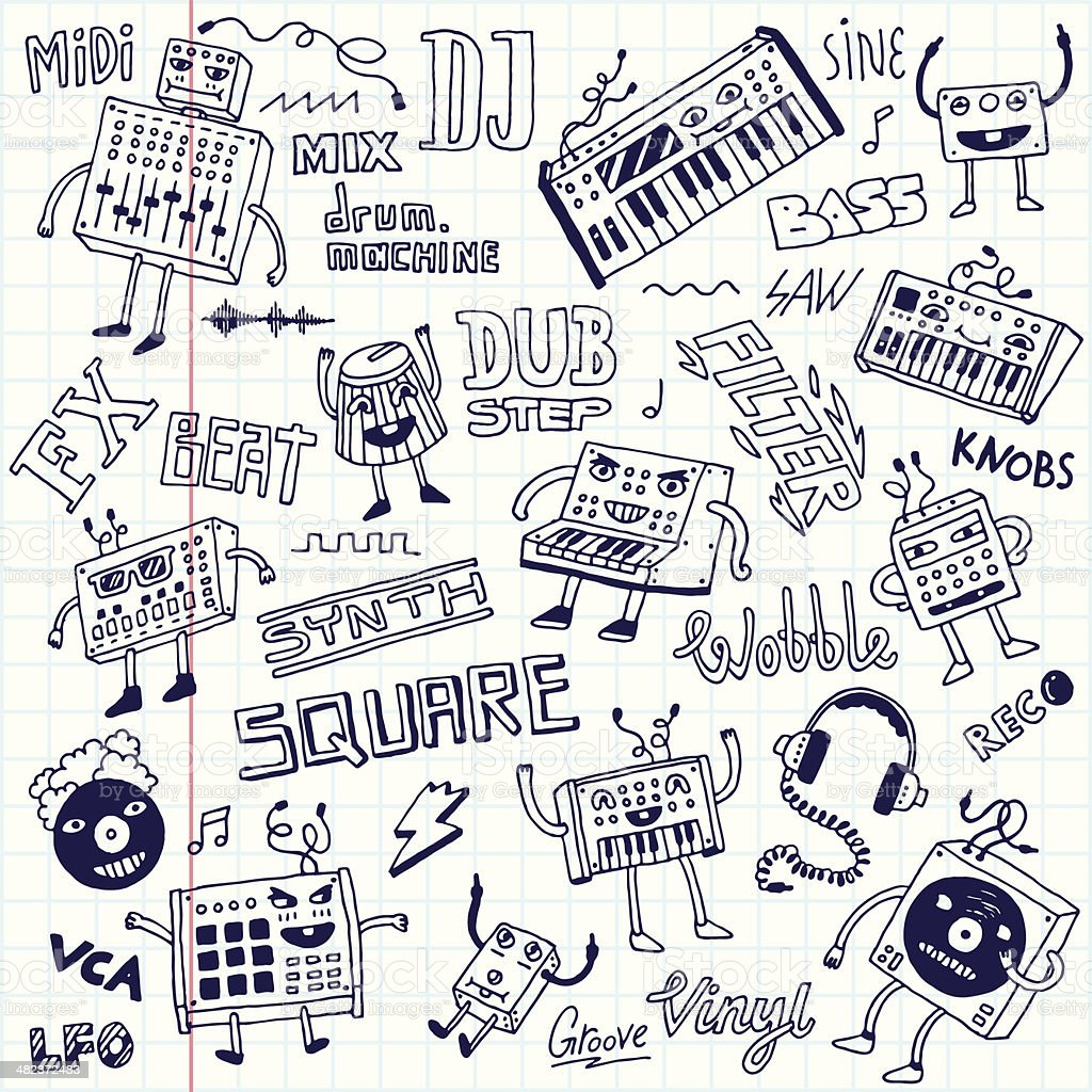 Electronic music. Doodle set. School notebook. vector art illustration