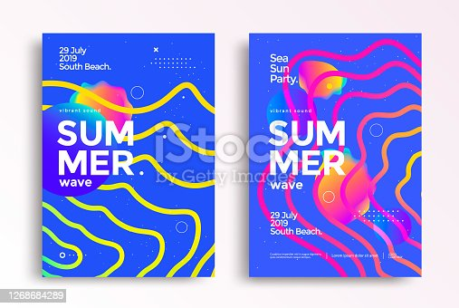 istock Electronic music fest summer wave party poster 1268684289