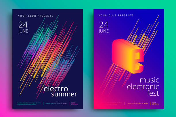 Electronic music fest Electronic music fest and electro summer poster. Modern club party flyer. Abstract gradients music background. electro music stock illustrations