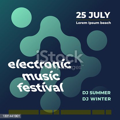 istock Electronic music festival. Abstract geometrical poster. Square format. Vector illustration, flat design 1331441901