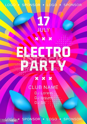 Electronic music festival poster design. Rainbow background Gradient fluid shapes. Futuristic geometric background. Electro party flyer, Club invitation template. Vector Eps10
