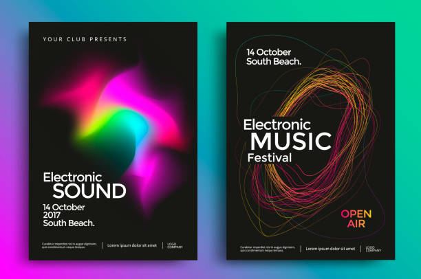 Electronic music festival poster Electronic music festival poster with abstract gradient lines. Vector template design for flyer, presentation, brochure. electro music stock illustrations