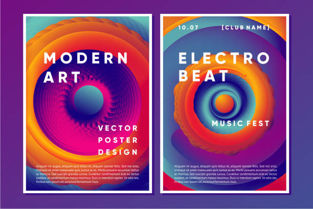 Electronic music poster design with vibrant vortex. vector art illustration