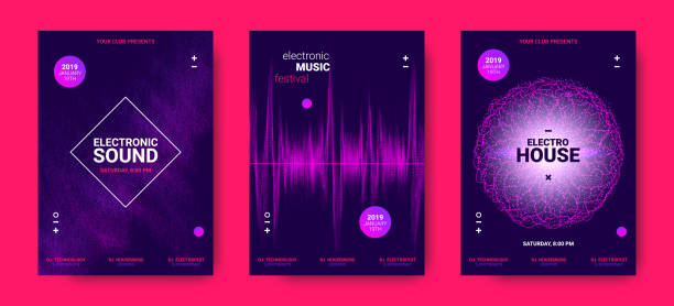 electronic music posters with sound amplitude. - rytm stock illustrations