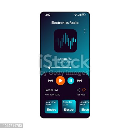 istock Electronic music radio smartphone interface vector template. Mobile online music player app page gradient design layout. Albums, live broadcast listening screen. Flat UI for application. Phone display 1215714753