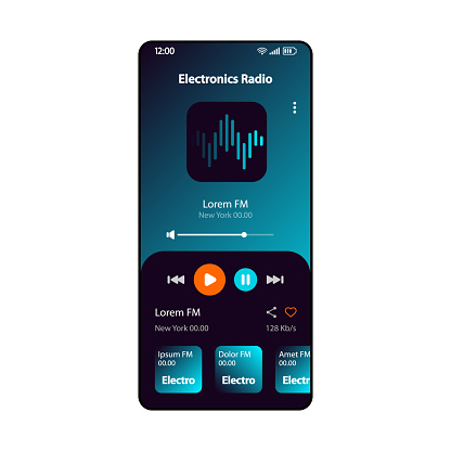 Electronic music radio smartphone interface vector template. Mobile online music player app page gradient design layout. Albums, live broadcast listening screen. Flat UI for application. Phone display