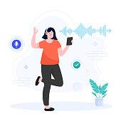 Flat illustration vector design of enjoying music