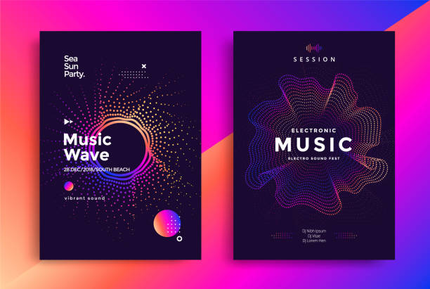 Electronic Music wave poster design Electronic Music wave poster design. Sound flyer with abstract gradient dotted waves. electro music stock illustrations