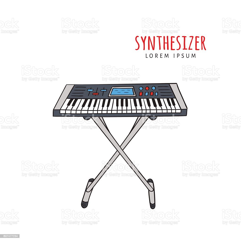 Electronic Piano Synthesizer Vector Illustration Royalty Free Stock