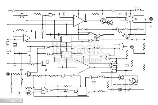 schematic diagram - project of electronic circuit - graphic design of electronic components and semiconductor