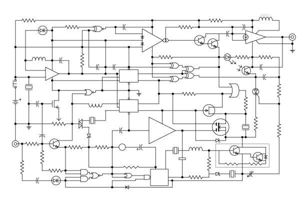 projekt elektroniczny - schemat obwodu diagramu - przewód składnik elektryczny stock illustrations