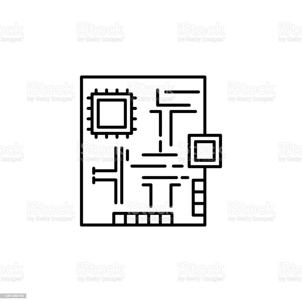 Electronic Protoboard Icon Element Of Robotics Engineering For