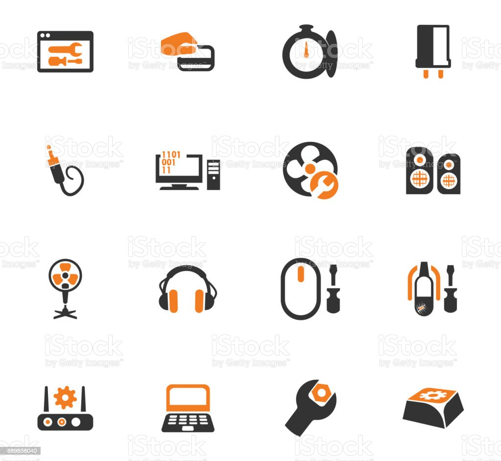 Electronic repair orange icons set vector art illustration