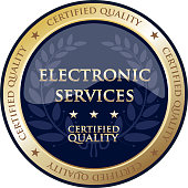 Electronic services certified quality gold round label.