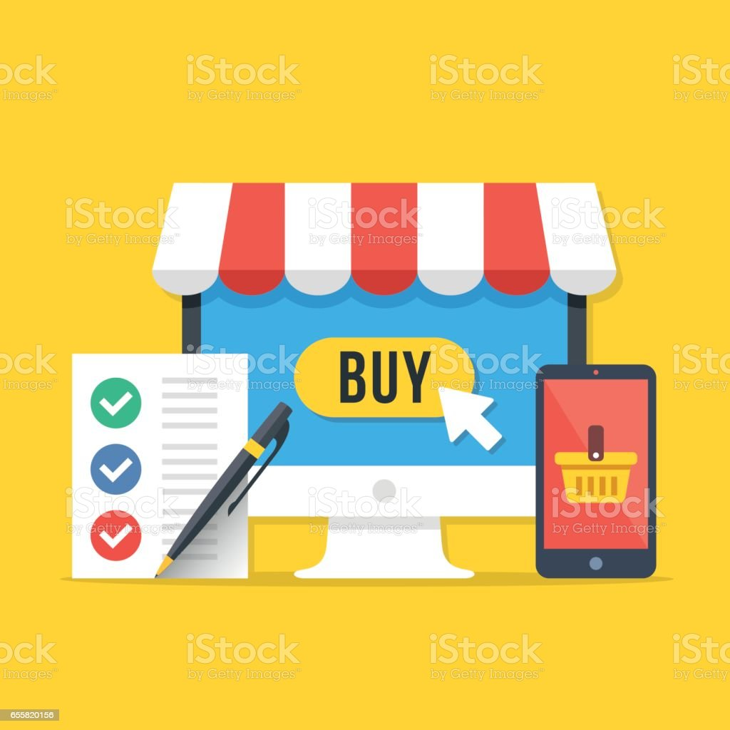 Electronic shopping, online shopping concepts. Desktop computer with buy button, smartphone with shopping basket, shopping list with pen. Modern flat design graphic elements set. Vector illustration vector art illustration