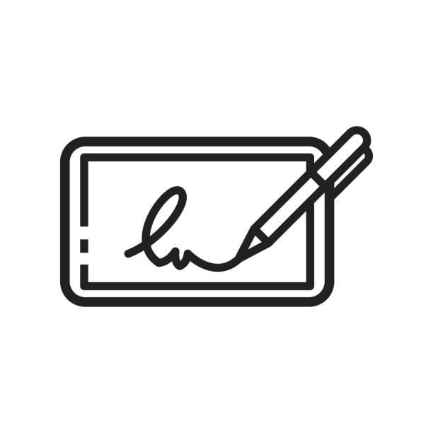 symbol für elektronische signaturen - unterschrift stock-grafiken, -clipart, -cartoons und -symbole
