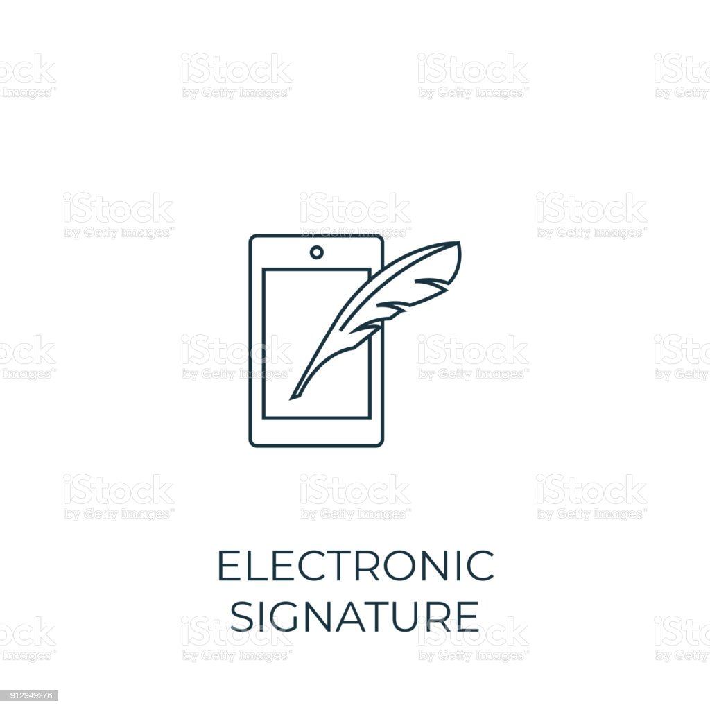 Electronic signature Line icon. Simple element illustration vector art illustration