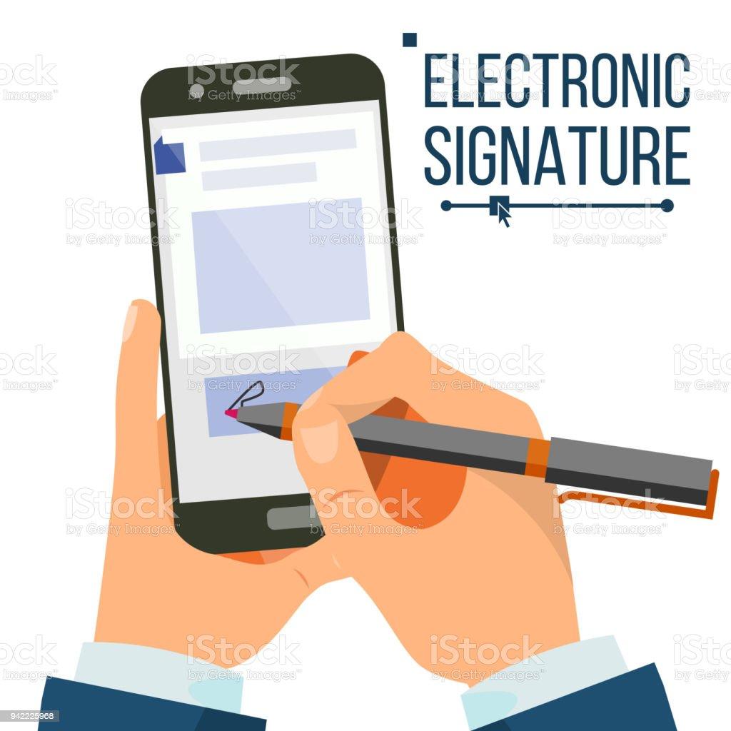 Elektronische Signatur Smartphone Vektor Geschäftsmann Hände ...