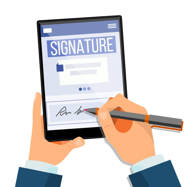 Electronic Signature Tablet Vector. Electronic Document, Contract. Digital Signature. Isolated Flat Illustration vector art illustration