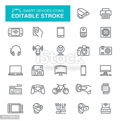 Smart phione, Digital Display, Computer Monitor, Desktop PC, VR headset, Editable Stroke Icon Set