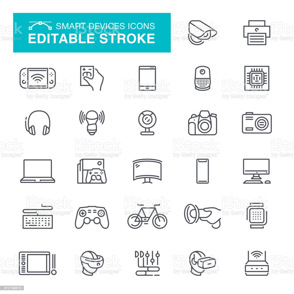 Electronic Smart Devices Icons Editable Stroke vector art illustration