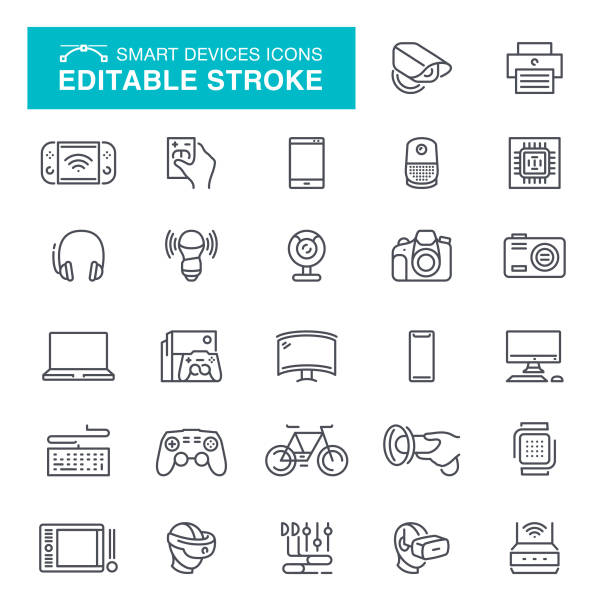 Electronic Smart Devices Icons Editable Stroke Smart phione, Digital Display, Computer Monitor, Desktop PC, VR headset, Editable Stroke Icon Set electrical equipment stock illustrations