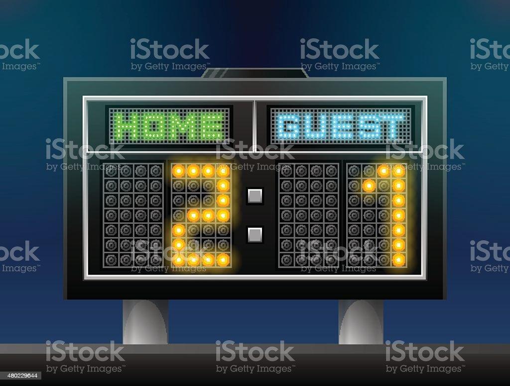 Electronic soccer scoreboard for stadium vector art illustration