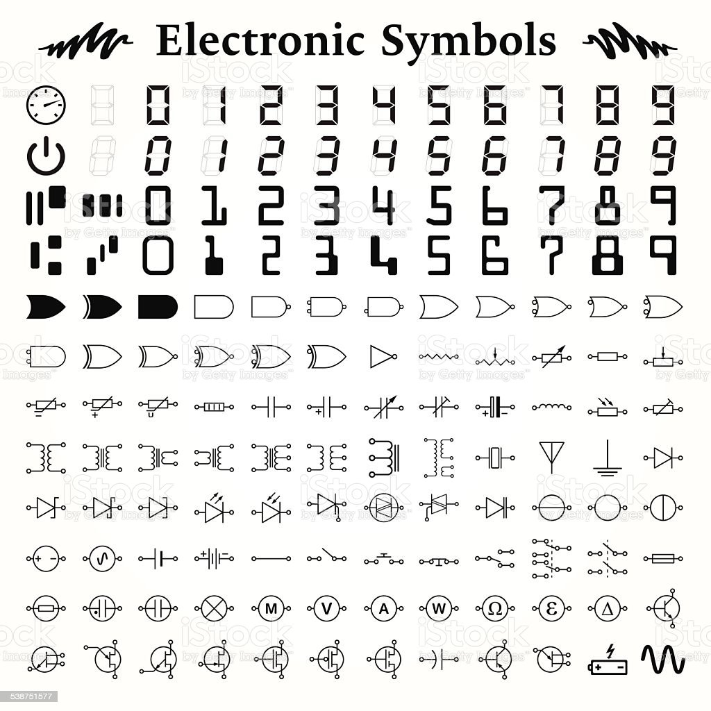 Electronic Symbols vector art illustration