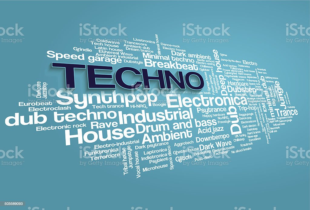 Electronic Techno Music Styles Word Cloud Bubble Tag Tree vector vector art illustration