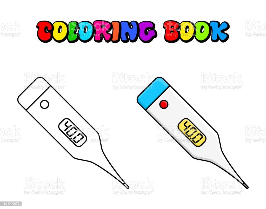 Ilustración De Termómetro Electrónico Para Colorear Diseño