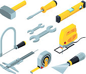 Electronic tools for construction. Isometric pictures set. Isometric of equipment tools, repair and work industry, screwdriver and wrench, vector illustration