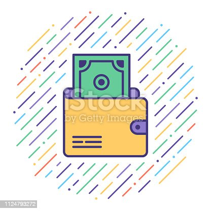 Flat line vector icon illustration of electronic transaction wallet with abstract background.
