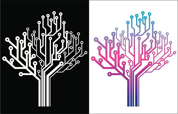 Electronic Tree Icon vector art illustration