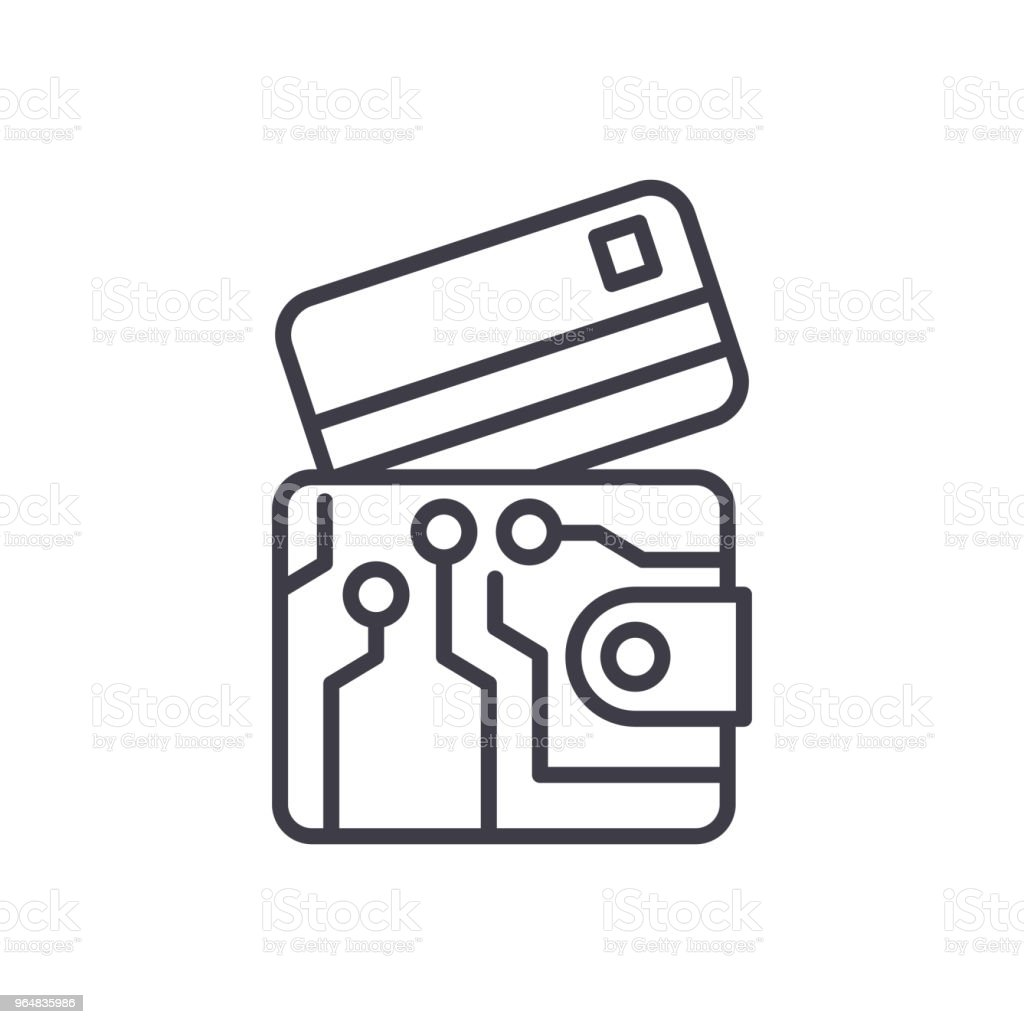 Electronic wallet black icon concept. Electronic wallet flat  vector symbol, sign, illustration. royalty-free electronic wallet black icon concept electronic wallet flat vector symbol sign illustration stock vector art & more images of bank