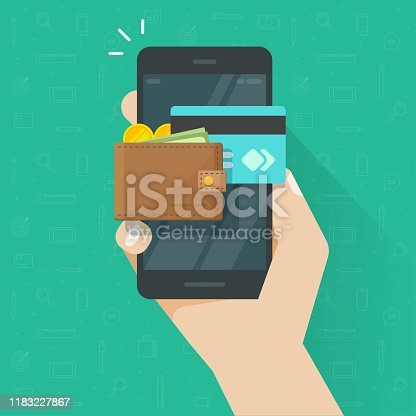 Electronic wallet on cellphone vector icon, flat cartoon mobile phone screen with digital money wallet and credit card for internet banking, wireless money transfer, smartphone internet cash