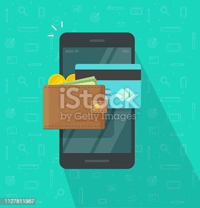 Electronic wallet on smartphone vector icon, flat cartoon design mobile phone screen with digital money wallet and credit card, internet banking, wireless money transfer, cellphone internet cash