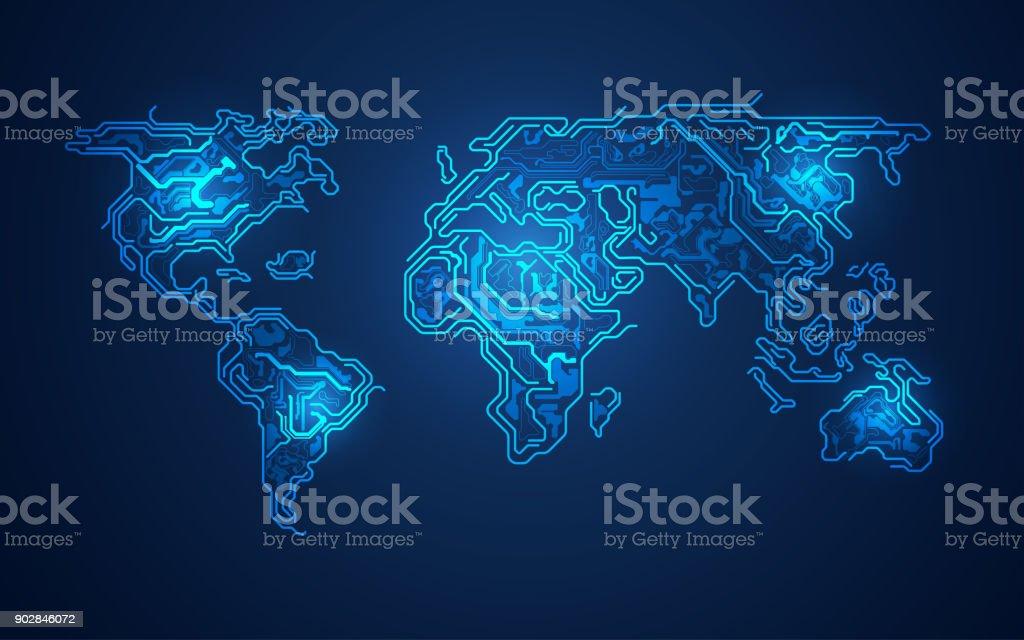 electronic World vector art illustration
