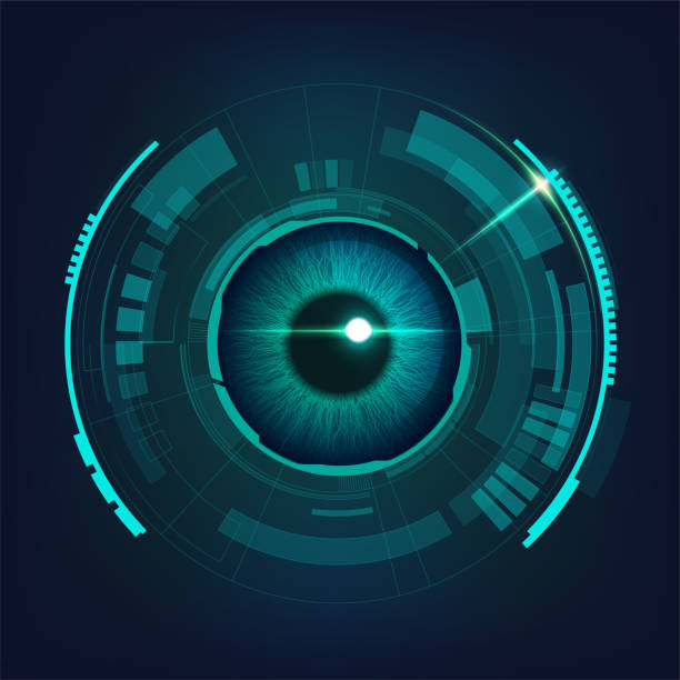 electronicEye2 cyber futuristic eye in dark bule-green tone, concept of cyber security cyborg stock illustrations