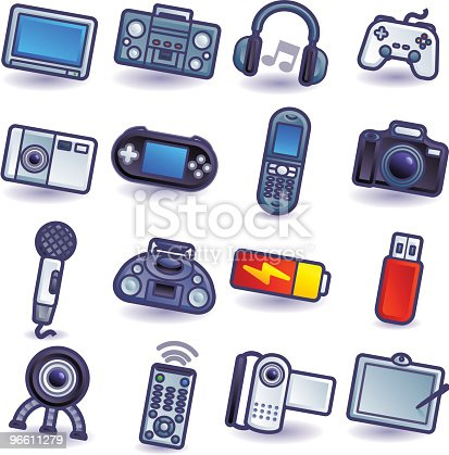 16 colorful electronic gadget icons.