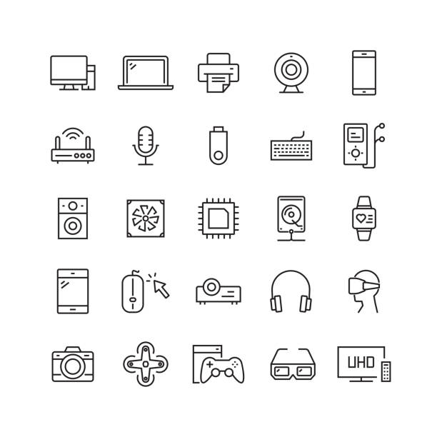 electronics and computer devices related vector line icons - electronics stock illustrations