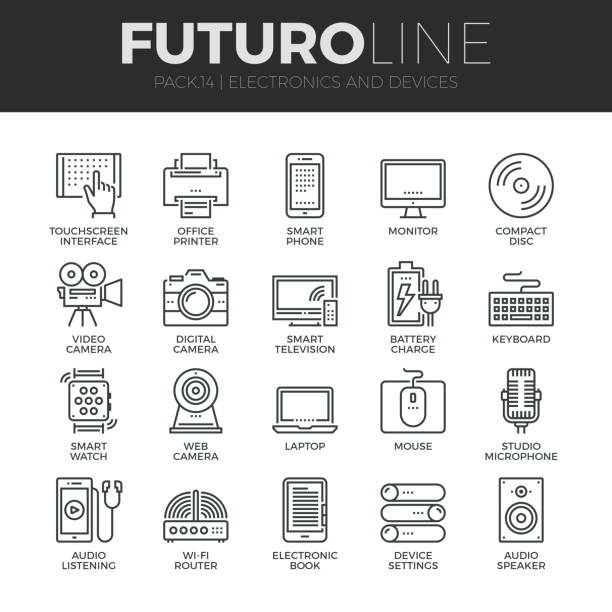 electronics and devices futuro line icons set - computer keyboard stock illustrations, clip art, cartoons, & icons