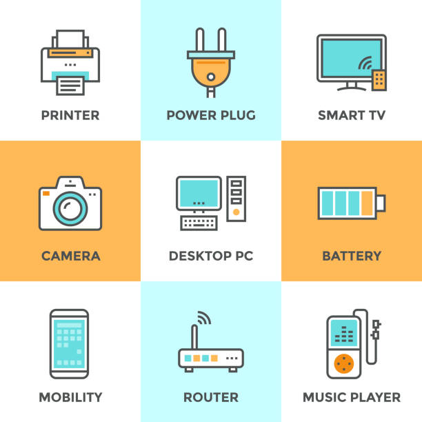 Electronics and devices line icons set Line icons set with flat design elements of consumer electronics and computer technology devices, power plug and energy battery. Modern vector pictogram collection concept. cell phone charger stock illustrations