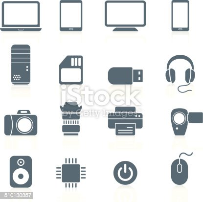 Vector set of electronics and hardware icons