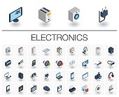Electronics and Multimedia isometric icons. 3d vector