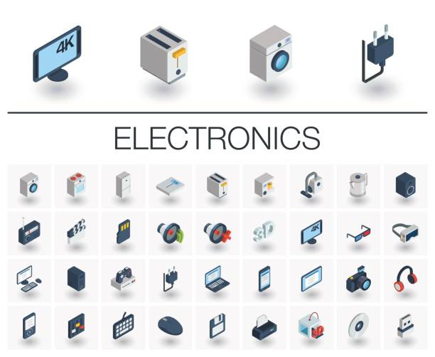 Electronics and Multimedia isometric icons. 3d vector Isometric flat icon set. 3d vector colorful illustration with electronics, multimedia and technology symbols. Music, film, phones, joystick, video, kitchen gadgets colorful pictogram Isolated on white electrical equipment stock illustrations